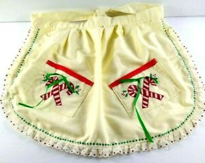 Vintage Handmade Apron W Lace Ribbon Candy Canes Christmas Pockets Tie Waist
