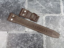 NEW 22mm IWC Brown CALF Leather Strap watch Band with Rivet BIG PILOT Beige x1