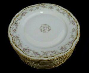 "10 Haviland Limoges Schleiger 844 Pink Rose Double Gold Dinner Plates 9-3/4"" EXC"