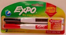 Expo Dry Erase Markers Fine Tip Magnetic Amp Eraser Tip 2 Pack Blackred