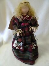 """15"""" TALL TEXTILE DECORATED RUSTIC FOLK ANGEL-WIRE-STARS-TWINE-CENTERPIECE-TABLE"""