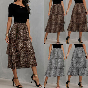 Womens Leopard Print Layered Dress Ladies Ruffle Hem Bottom Casual Pleated Skirt