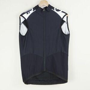 Assos Sleeveless Black White Cycling Full Zip Jersey Mens Sz XL