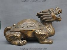 "21"" Old Chinese Fengshui Bronze Wealth Money Coin Dragon Turtle Tortoise Statue"