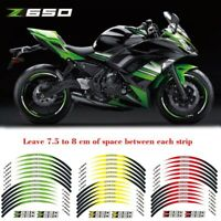 "For Kawasaki Z650 17"" Motorcycle front&Rear Edge Outer Rim Sticker Wheel Decals"