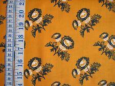 Penny rose cheddar et indigo tissu 100% coton jaune foncé + bleu marine fleurs par fq