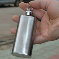 2oz Mini Stainless Steel Pocket Hip Flask Alcohol Flagon Keychain Funnel EN