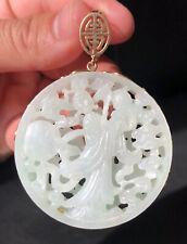 Antique 14k Gold Chinese Carved White Green Jadeite Jade Pierced Plaque Pendant