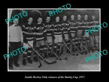 Old 6 X 4 Historic Photo Of Seattle Ice Hockey Team, Stanley Cup Winners 1917