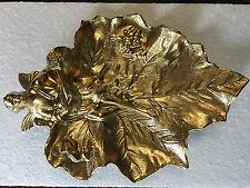 FEMME AVEC Mandolin Mandoline sur le feuilles de vigne BAROQUE ANTIQUE EN OR