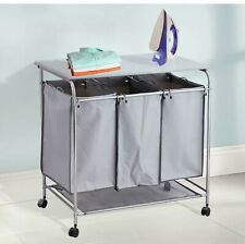 Rolling Laundry Cart Trolley Sorter With Ironing Board & 3 Removable Fabric Bags