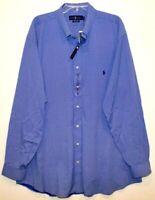 Polo Ralph Lauren Big & Tall Mens Blue White Angles Button-Front Shirt NWT 2XLT