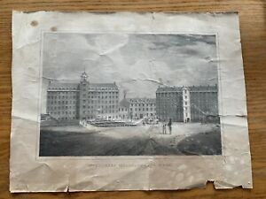 19th c. lithograph of Middlesex Mills Lowell MA Fitz Henry Lane