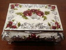 Trinket Jewelry Box Cream White Metal Footed Hinged Red Roses w/Silver Accents