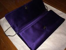 EUC Tiffany & Co. royal purple soft flat satin clutch bag detachable chain