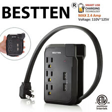 3 Outlet Power Strip Surge Protector Travel Charger with 2 USB Charging Ports