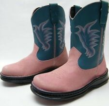 WOMENS DOUBLE H PINK GRN COWBOY WESTERN BOOTS 6.5~1/2 M
