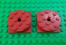 Lego Red Turntables 4x4 Stud Swivel Spin Round Large Square Base - 2 pieces