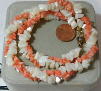 """Double strand White Mother of Pearl Salmon Coral Bead 16"""" Necklace 8g 55"""