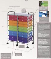 NEW ALVIN Rolling Storage Cart Organizer, 20 Drawer Standard Size, Rainbow