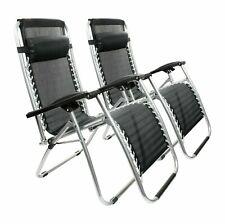 2 x Black Textoline Zero Gravity Chair Garden Pool Reclining Folding Sun Lounger