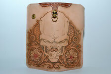 CustomBiker with carving sheridan skull Genuine Leather Men's Long Wallet style