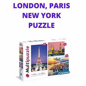 Clementoni Multi Puzzle City Landscape Jigsaw Set of 3 - 1x500 And 2x1000 Pcs