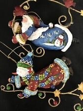 2 Mary Engelbreit Style- Flying Santa/Snowman Christmas Ornaments Resin 4""