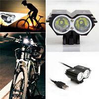 Solar 8000LM X2 CREE XM-L T6 USB Waterproof Lamp LED Bicycle Headlight Super GB