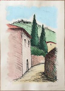 Sereni  litografia colorata a mano 50x35 paesaggio Fiorentino C firmato