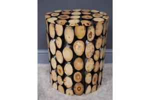 teak log side table lamp table stool round wood coffee table solid wood