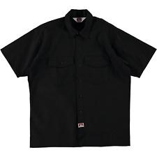 Ben Davis Short Sleeve Button Up Work Shirt Solid Black