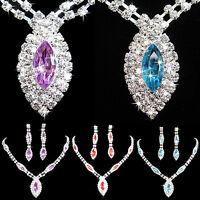 EG_ Womens Wedding Gift Bride Rhinestone Pendant Necklace Earrings Jewelry Set W
