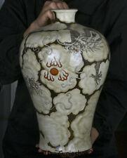 "16.8"" Qianlong Marked China grisaille Painting Porcelain Dragon Plum Bottle Vase"