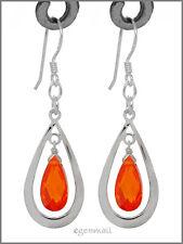 925 Silver Pear Drop Dangle Earring CZ Orange #65265