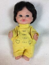 "Vintage UD Company Inc 1968 Japanese Baby Vinyl Doll - 4"" Yellow Japan Clothes"