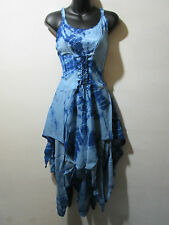 Dress Fits XL 1X 2X Plus Blue Corset Lace Up Waist Layered Pixie Hem NWT G209