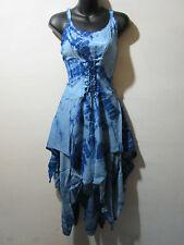 Dress Fits XL 1X 2X Plus Blue Corset Lace Up Waist Layered Pixie Hem NWT G209