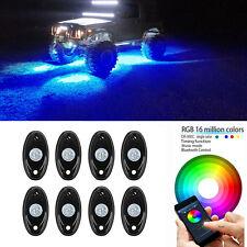 8Pcs Pod RGB LED Rock Lights Wireless Bluetooth Music Flashing Multi Color