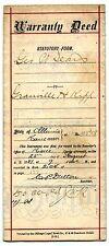 1881 Land Deed Elgin Illinois George W Sears Civil War Veteran