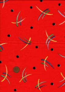 100% Cotton Fabric Vintage Abstract Geometric & Spot Red Multi Craft Patchwork