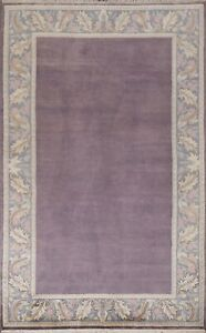Vegetable Dye Nepalese Oriental Mauve Hand-knotted Area Rug Bordered Wool 6'x8'