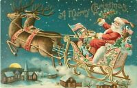 Patriotic~ SANTA CLAUS in Sled with Toys~Flag~1910~Christmas Postcard-a350