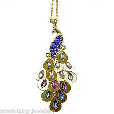 Peacock Necklace Pendant Gold Blue Green Purple Drop Design