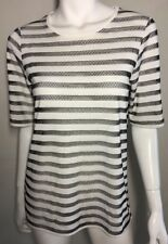 New! COUNTRY ROAD sheer black stripe stretch tee top ~ sz XS
