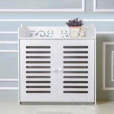 Shoe Cabinet with Doors Storage Rack Organizer Shelf Closet Entryway Wood White