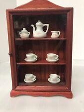 "Dollhouse Furniture Miniature Porcelain Tea Set Curio Cabinet Shelf 10""x 6.5"""