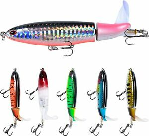 6PC Topwater Floating Rotating Tail Artificial Hard Bait Swimbaits Fishing Lures