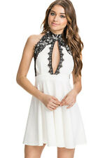 Cute White Lace Collar Skater Party Mini Dress