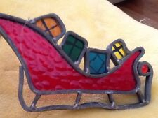 Vintage Leaded Lead Stained Glass Christmas Red Sleigh 60's